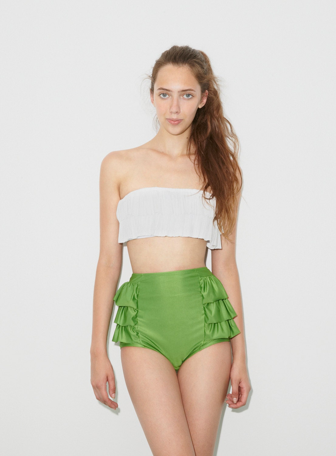 White Padded Top and Green Rulffled Retro Vintage High Waisted