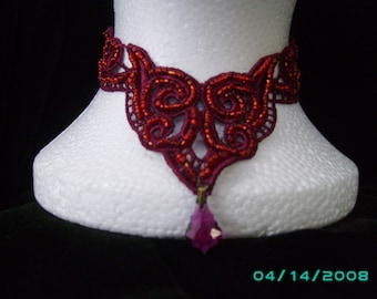 blood red lace necklace