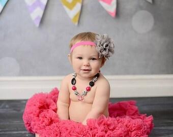 Gray Flower Headband, Gray and Pink Headband, Baby Girl Headband, Large Flower Headband