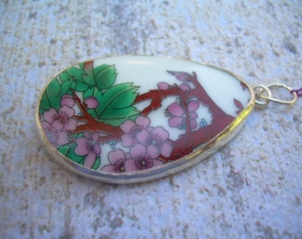 Porcelain shards pendant--Cherry Blossoms--Set in silver plated copper