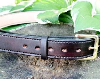Custom Leather Gun Belt Brass Buckle Full Grain Cowhide, Made to order