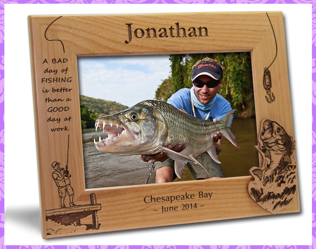 4x6 personalized custom engraved fishing picture frame for Fishing picture frame