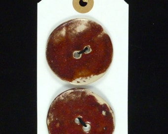2 Ceramic Buttons in Burnt Orange