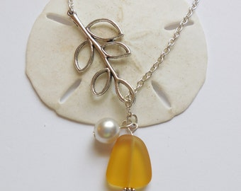 Yellow Sea Glass Necklace, Charm necklace, Pearl, Silver Branch, bridesmaid necklace, beach wedding.  FREE SHIPPING within the U.S.