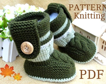 Knitting PATTERN Baby Booties PATTERN Knit Baby Shoes Baby Boy Baby Girl Pattern Knit Baby Pattern Infant Shoes Baby Uggs ( PDF file ) Only