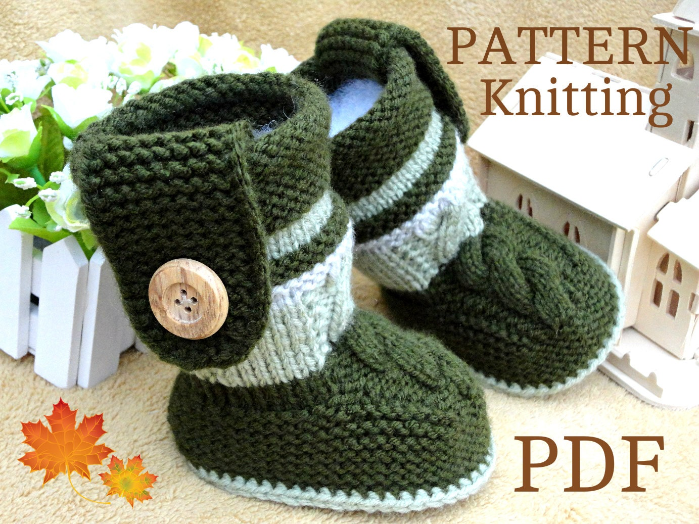 Baby Booties Cable Knitting Pattern : Knitting PATTERN Baby Booties PATTERN Knit Baby Shoes Baby Boy