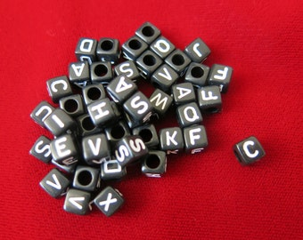 100pc mixed alphabet/letter acrylic cube beads (JC13)