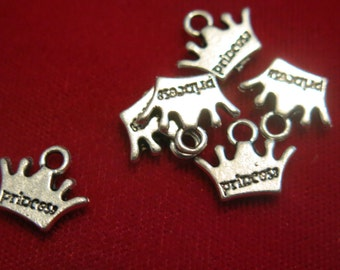 """BULK! 30pc """"princess"""" charms in antique silver style (BC79B)"""