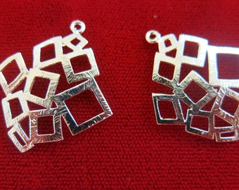 "5pc ""rhombus"" charms in antique style silver (BC375)"