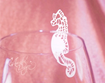 Seahorse Place Card. Silhouette Sea Horse for Marine Theme Wedding / Bridal Shower Reception Decoration, Party Guest name card, Escort card