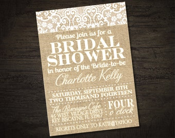 Burlap and Lace Bridal Shower Invitation (printable)
