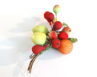 1940's Brooch - Frosted Fruit