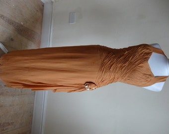 Vintage 1930s Dress - Butterscotch Chiffon Halterneck
