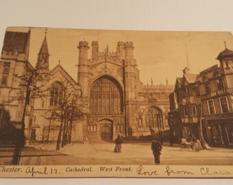 Vintage Postcard ,Chester Cathedral, West Front Chester Cathedral, Antique Postcard, British Postcard