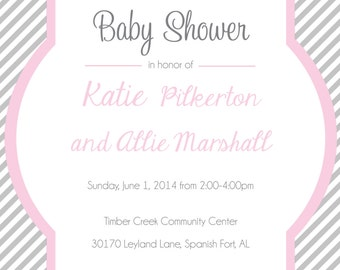Grey Stripe with Pink Monogram Baby Shower Invitation