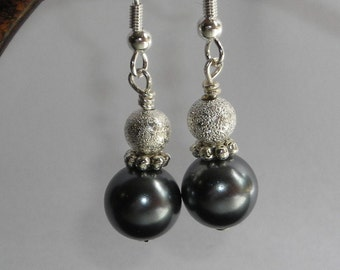Gunmetal Gray Glass Pearl and Silver Stardust Bead Earrings