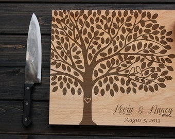 Personalized Cutting Board Wood Cutting Board with Birds on Tree  Wedding Gift Anniversary Gift Custom Engraved love tree Heart
