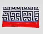 Capri blue fold-over clutch