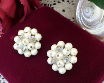 Large Pearl Bauble Clip On Earrings