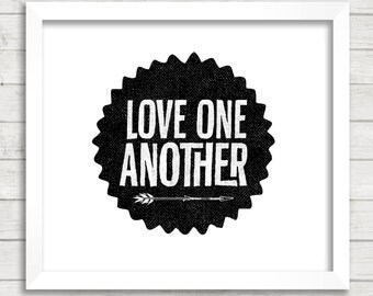 8x10 INSTANT DOWNLOAD - Love One Another - Arrow - Art Print - Home Decor - Typography