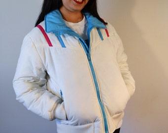 Ski Jacket, White Blue Pink Women's Large