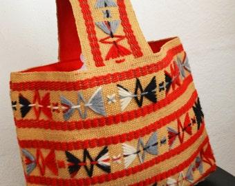 Boho bag, Embroidered purse, Burlap, Arm Tote, Bag ,Purse,red,tan