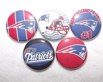 """New England Patriots NFL 1"""" Round  Buttons"""