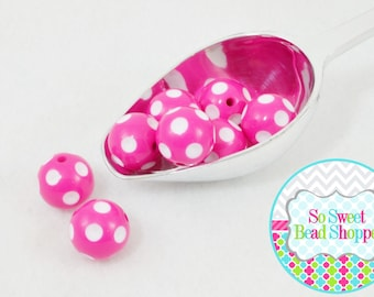 20mm Polka Dot Acrylic Beads, 8ct, Hot Pink, Gumball Beads, Round