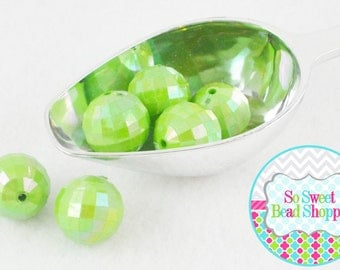 20mm Faceted AB Acrylic Beads 6ct, Lime Green, Chunky Beads, Aurora Borealis, Round