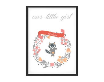 Graphic print for kidsroom or nursery, girl