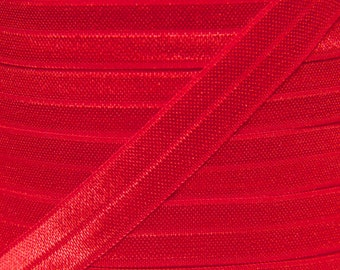 Red Fold Over Elastic - Elastic For Baby Headbands and Hair Ties - 10 Yards of 5/8 inch FOE