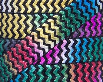 Black and Rainbow Foil Metallic Chevron Fold Over Elastic - Elastic for Baby Headbands and Hair Ties - 5 Yards 5/8 inch Printed FOE