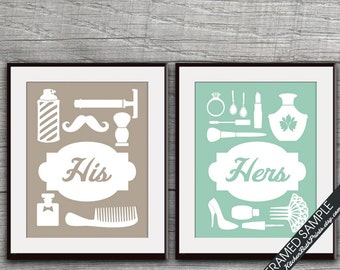 His And Hers Bathroom Prints (sereis B)   Set Of 2   Art Prints