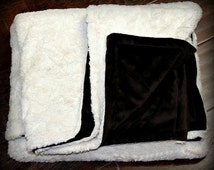 FUR ACCENTS Minky Cuddle Fur Bedspread /Throw Blanket / Creamy White and Chocolate Brown / Crushed Minky