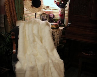 FUR ACCENTS  Faux Fur Throw Blanket / Luxury Fur Off White Mink