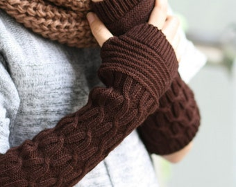 G6  Dark brown  Long Hand-knitted  Gloves  Wrist Warmers  gift for her