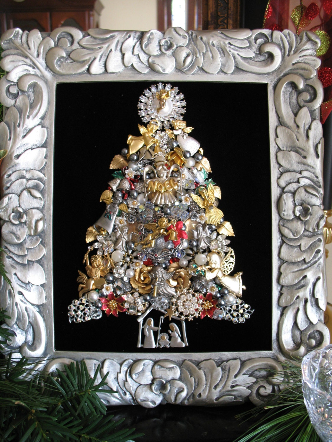 Framed Vintage Jewelry Christmas Tree Picture Angels Nativity
