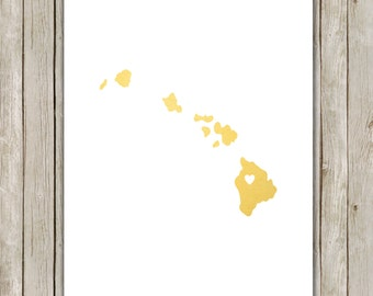 8x10 Hawaii State Printable, State Wall Art, Metallic Gold Printable Art, Hawaii Poster, Office, Home Decor, Instant Digital Download