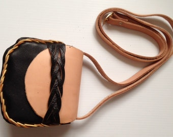 Handmade leather cross body bag
