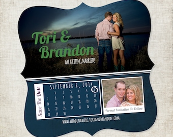 5x5 Custom Designed Save the Date Magnet with Photos and Calendar in Navy Blue, Green and Purple