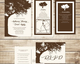 5x7 Tree Linen Off White & Brown Wedding Invitation Suite with Postcard RSVP, Accommodations and Details Insert Pocket Style Available