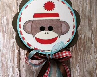 Custom sock monkey cake topper