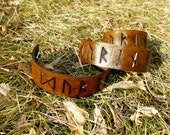 Rune Inspired Leather Bracelet cuff with Snap