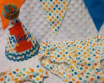 Boys Cake Smash Outfit - Blue and Orange Dots - Diaper Cover, Tie & Birthday Hat - Birthday Set