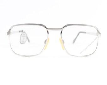 70s Vintage Aviator Glasses | 1970s Stainless Steel Horn-Rim Eyeglass Frame with Demo Lenses | NOS Eyeglasses | Deadstock Eyewear - Inodur