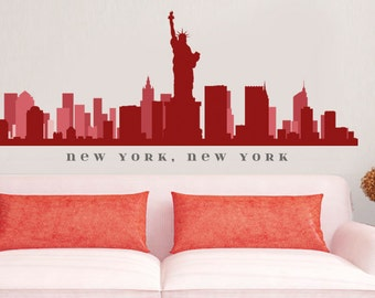 """NEW YORK NY Skyline Wall Decal Art Vinyl Removable Peel n Stick up to 70"""" x 18"""" Living Room Office Business Decor City"""