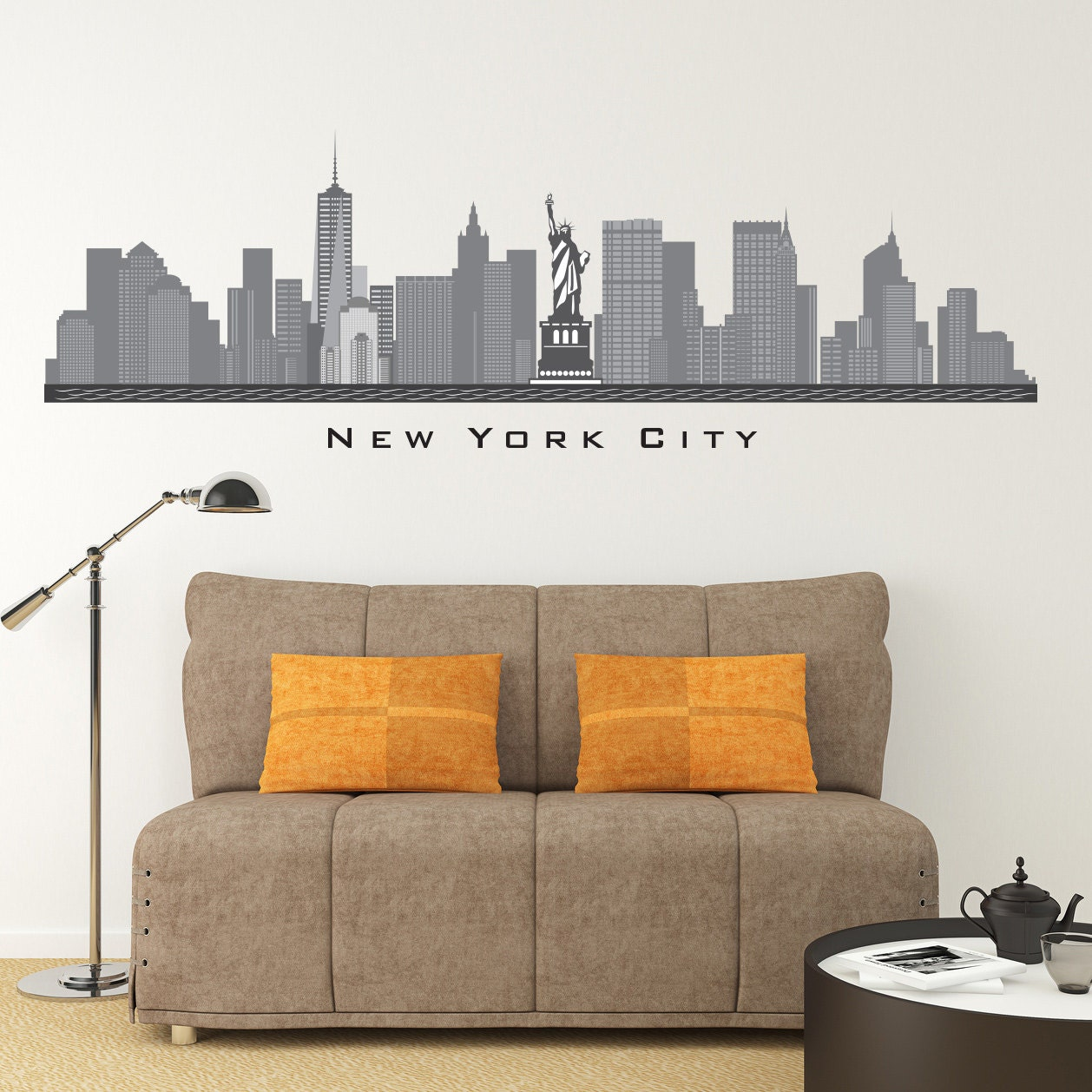 new york city ny skyline wall decal freedom tower printed