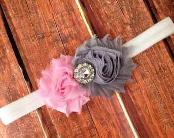 Pink and Gray Headband- Flower Headband, Pink Headband, Gray Headband, Newborn Headband, Photography Prop