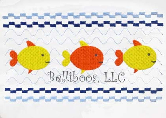Fish Faux Smocking Embroidery