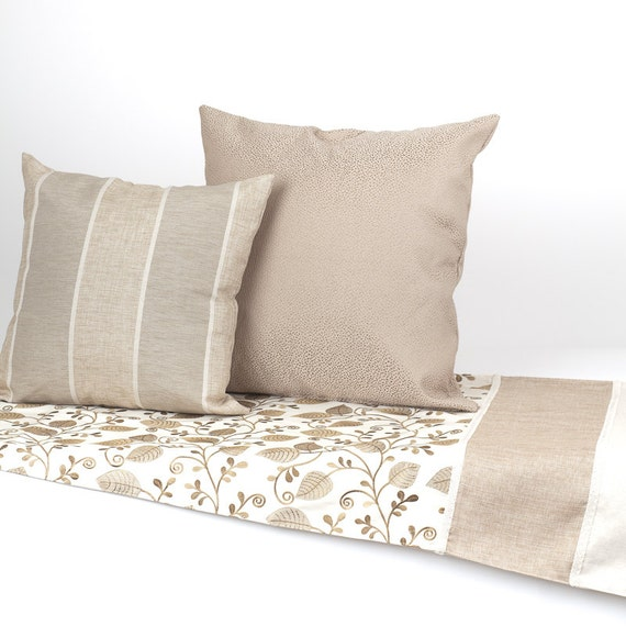 leaves and vines bed scarf and matching bed pillows by
